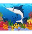 funny shark saws cartoon with beauty sea life vector image