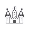 kingdom castle wtih three towers line icon vector image