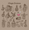 magic potions tubes and bottles vector image