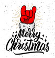 merry christmas santa claus hand with rock and vector image