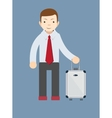 Office worker with a bag for travel vector image