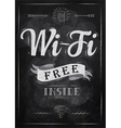 Wi-fi free inside poster with chalk on the blackbo vector image