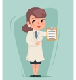 Female Doctor Character Hold Clipboard Icon Medic vector image