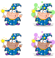 Wizard Boy Waving With Magic Wand Collection vector image vector image