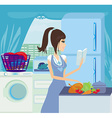 beautiful housewife cooking vegetables with vector image vector image