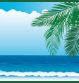 background with sea views branches of palm vector image