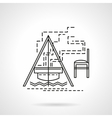 Campfire flat line icon vector image