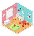 Child playroom isometric icon set vector image