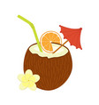 cocktail of coconut flat material design vector image