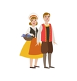 Couple In French National Clothes vector image