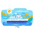 cruise ship in sea design flat vector image