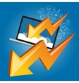 down chart laptop screen cloud failure crisis vector image