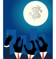 Downtown business wolves holwing at the full Moon vector image