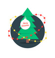 merry christmas with xmas tree and garlands vector image