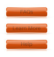 orange long buttons learn more faqs help vector image