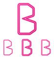 Pink b letter logo design set vector image