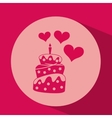 heart red cartoon cake candle icon design vector image