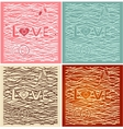 The word love in background Set of 4 cards vector image