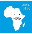 Fun moustache club cartoon Africa hand drawn map vector image vector image