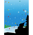 Silhouette of Christmas with snowman vector image vector image