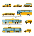 City public transport icons flat set Urban vector image vector image