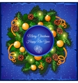 Christmas wreath of fir tree branches and balls vector image