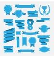 Blue ribbonsmedalawardcup set isolated on white vector image