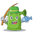 fishing watering can character cartoon vector image