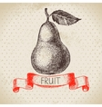 Hand drawn sketch fruit pear Eco food background vector image