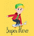 super hero kids postcard template vector image