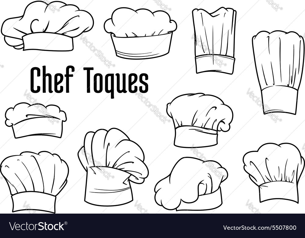 Chef caps and hats set vector