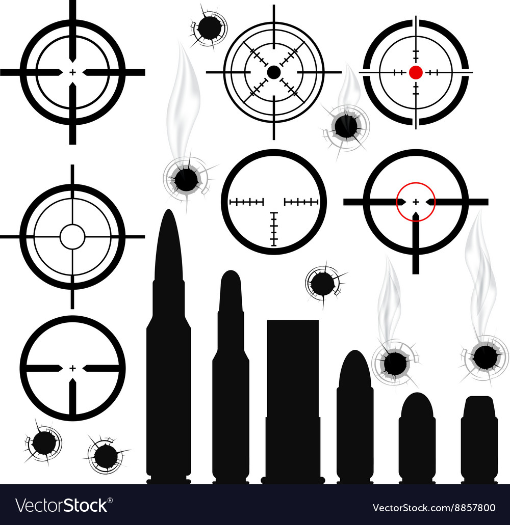 Crosshairs gun sights bullet cartridges and bullet vector