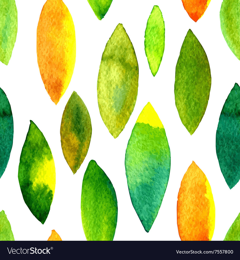 Watercolor seamless pattern with leaves vector