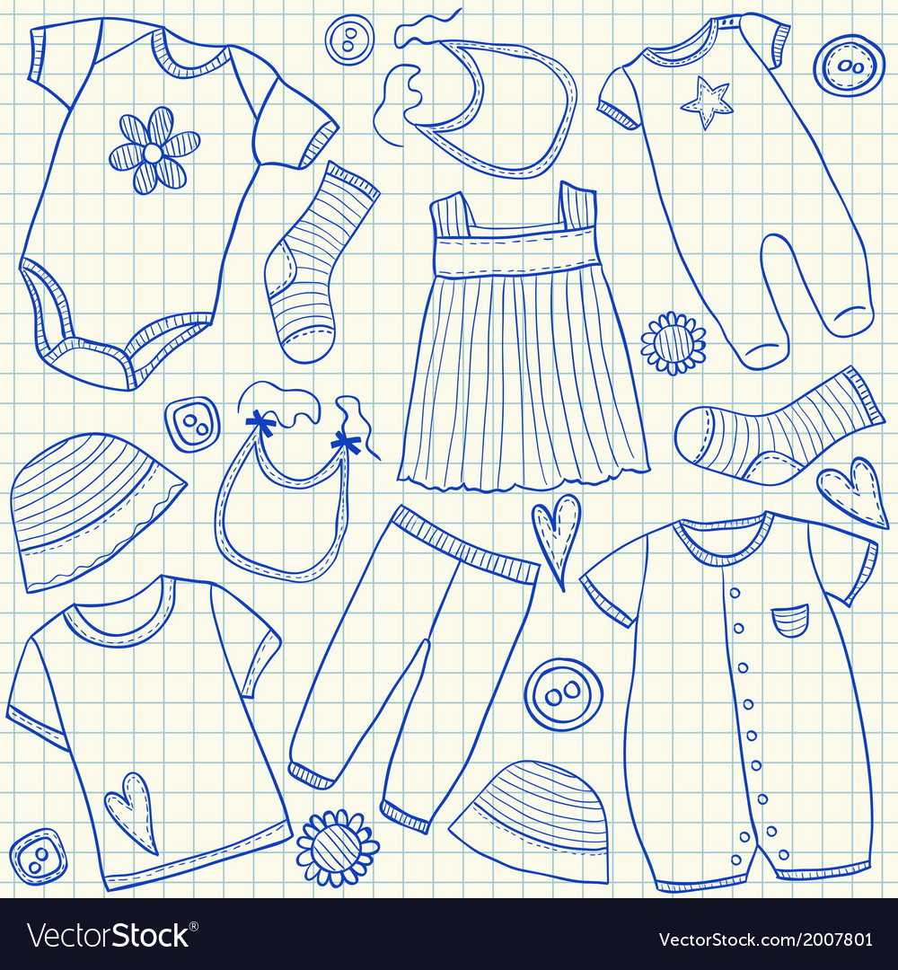 Baby clothes doodles on school squared paper vector