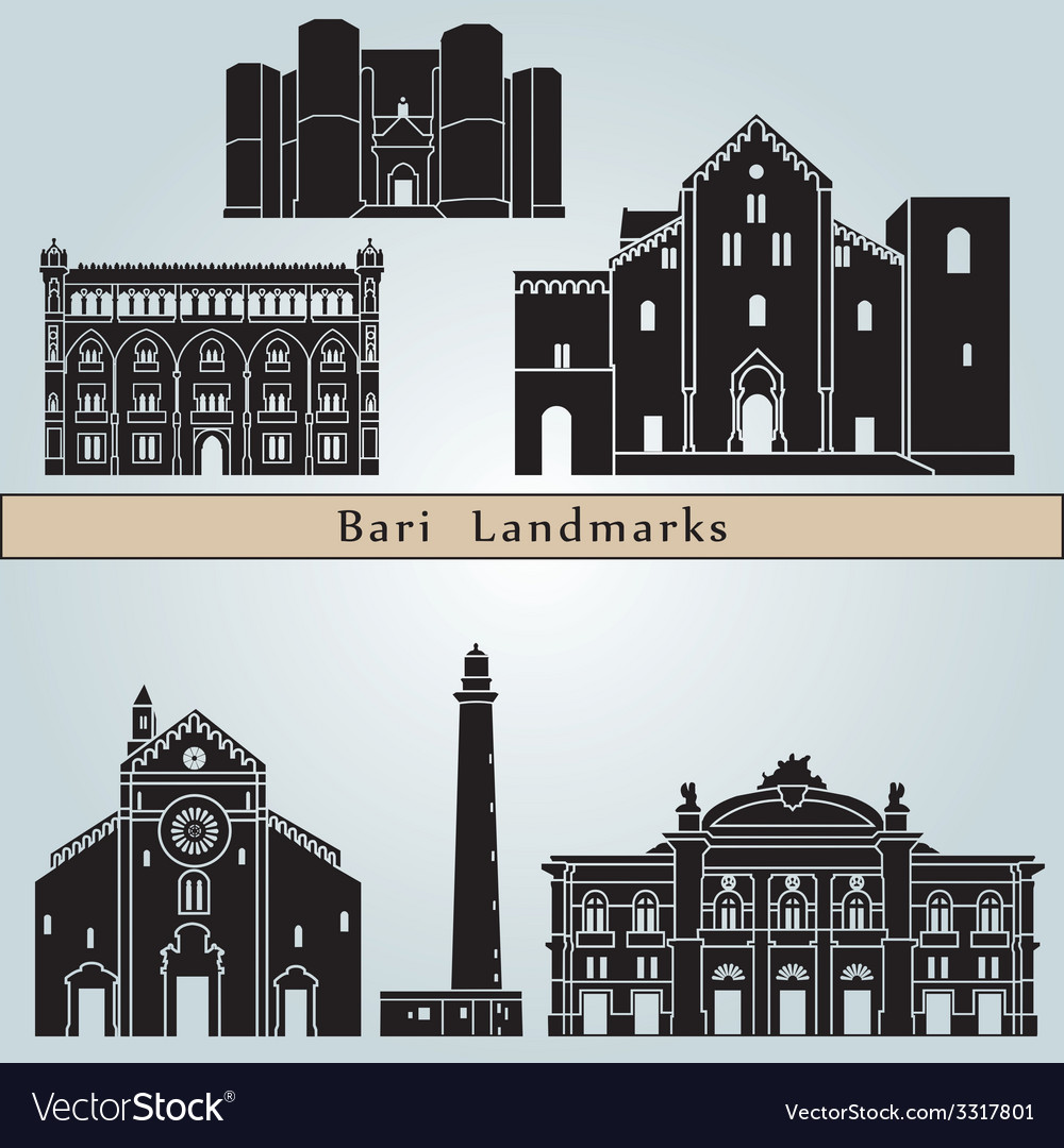 Bari landmarks and monuments vector