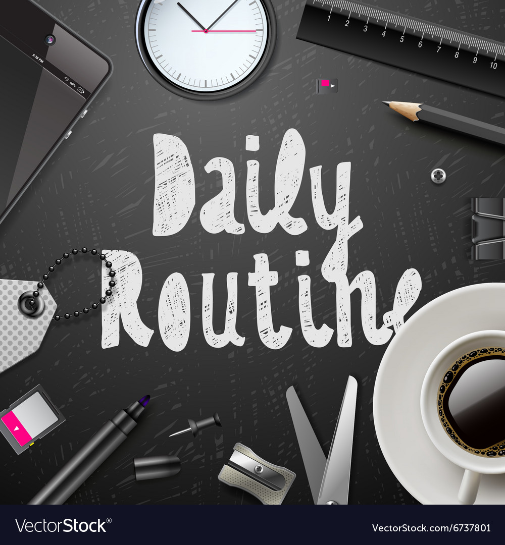 Daily routine modern office supplies vector