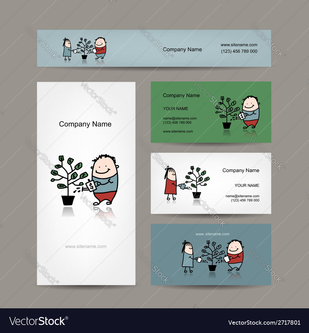 Design of business cards with money tree concept vector