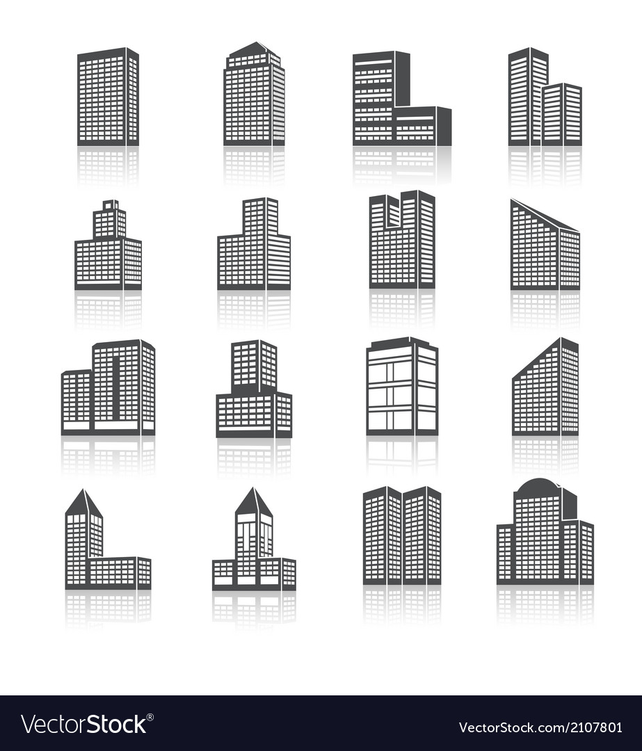 Edifice buildings icons set vector