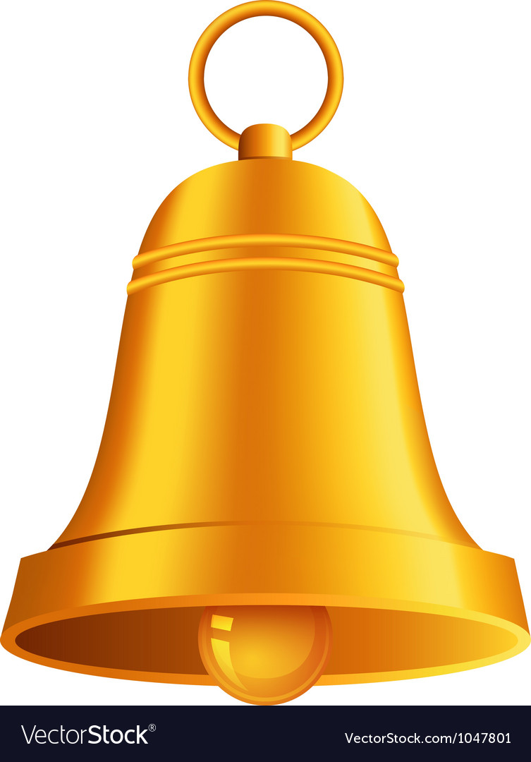 Shiny golden christmas bell vector