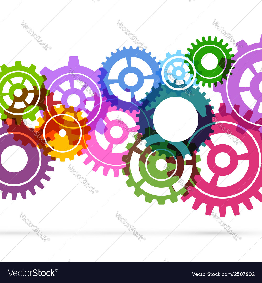 Bright gear fly background template vector