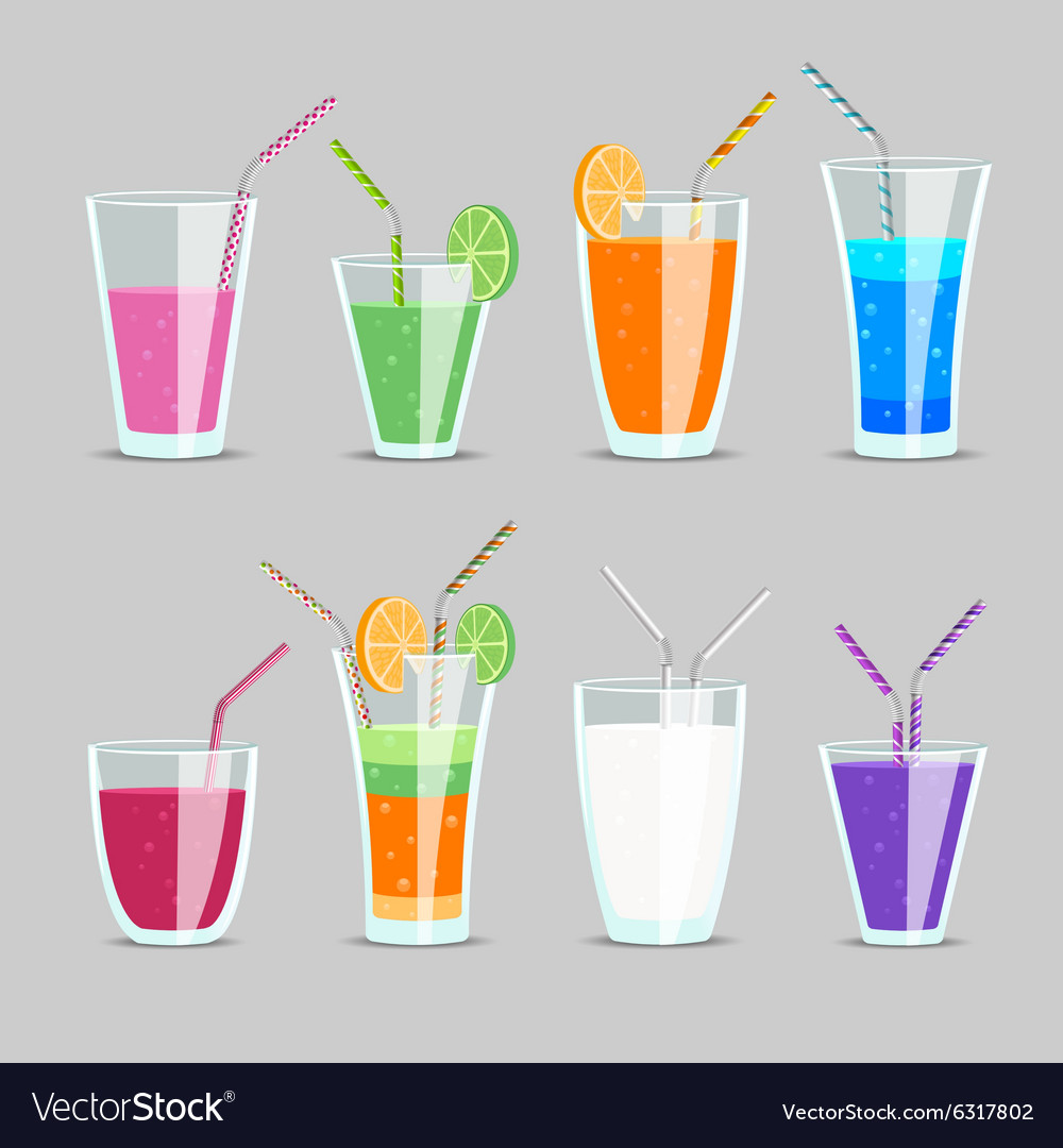Cocktail and fruit juice drinks vector