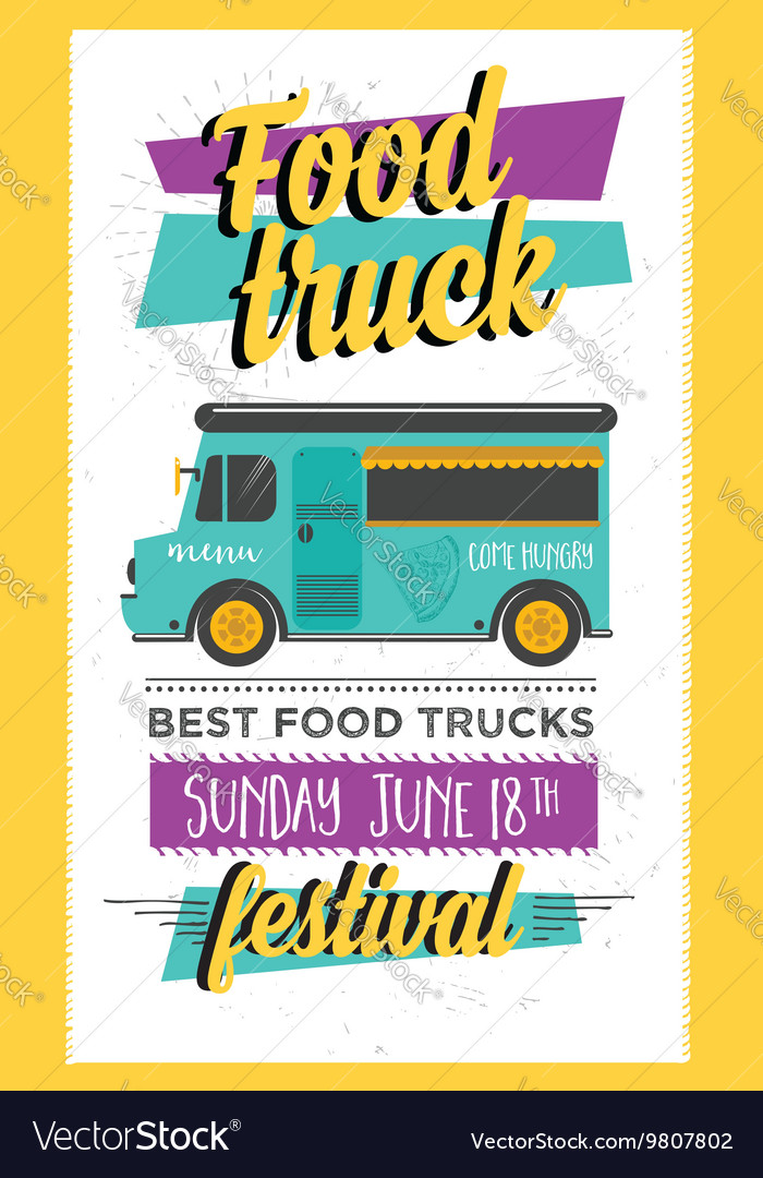 Food truck party invitation food menu template vector