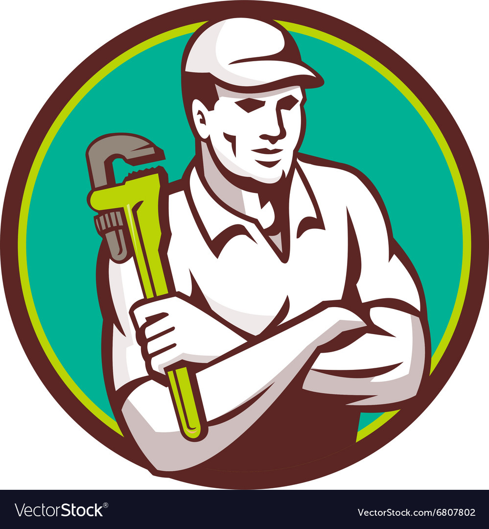 Plumber monkey wrench arms crossed circle retro vector