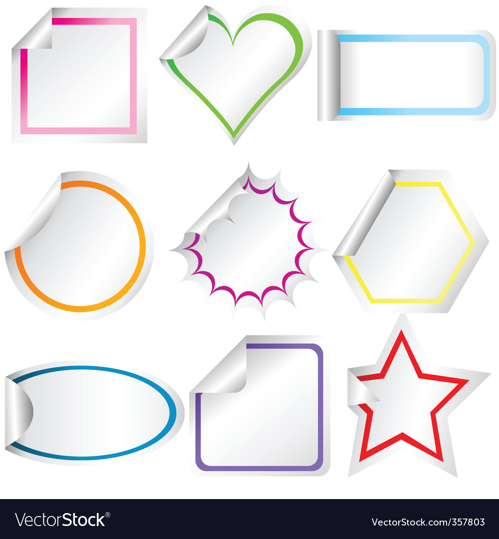 Blank stickers vector