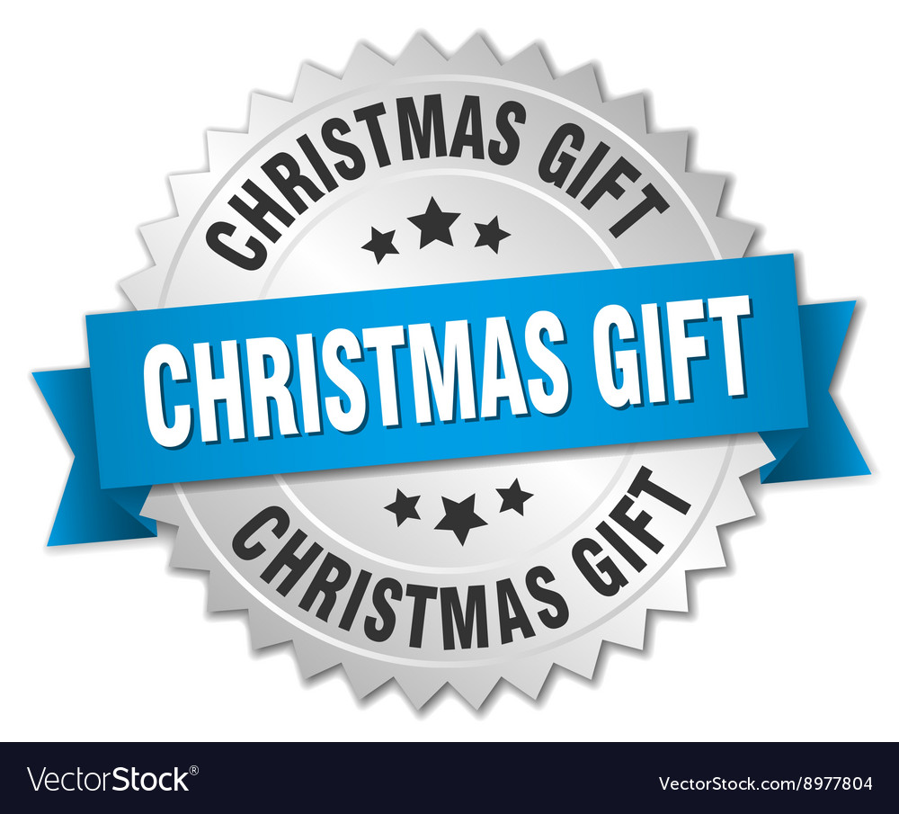 Christmas gift 3d silver badge with blue ribbon vector