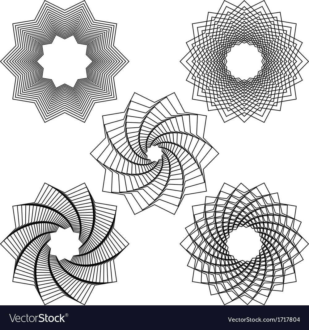 Five black spirals vector