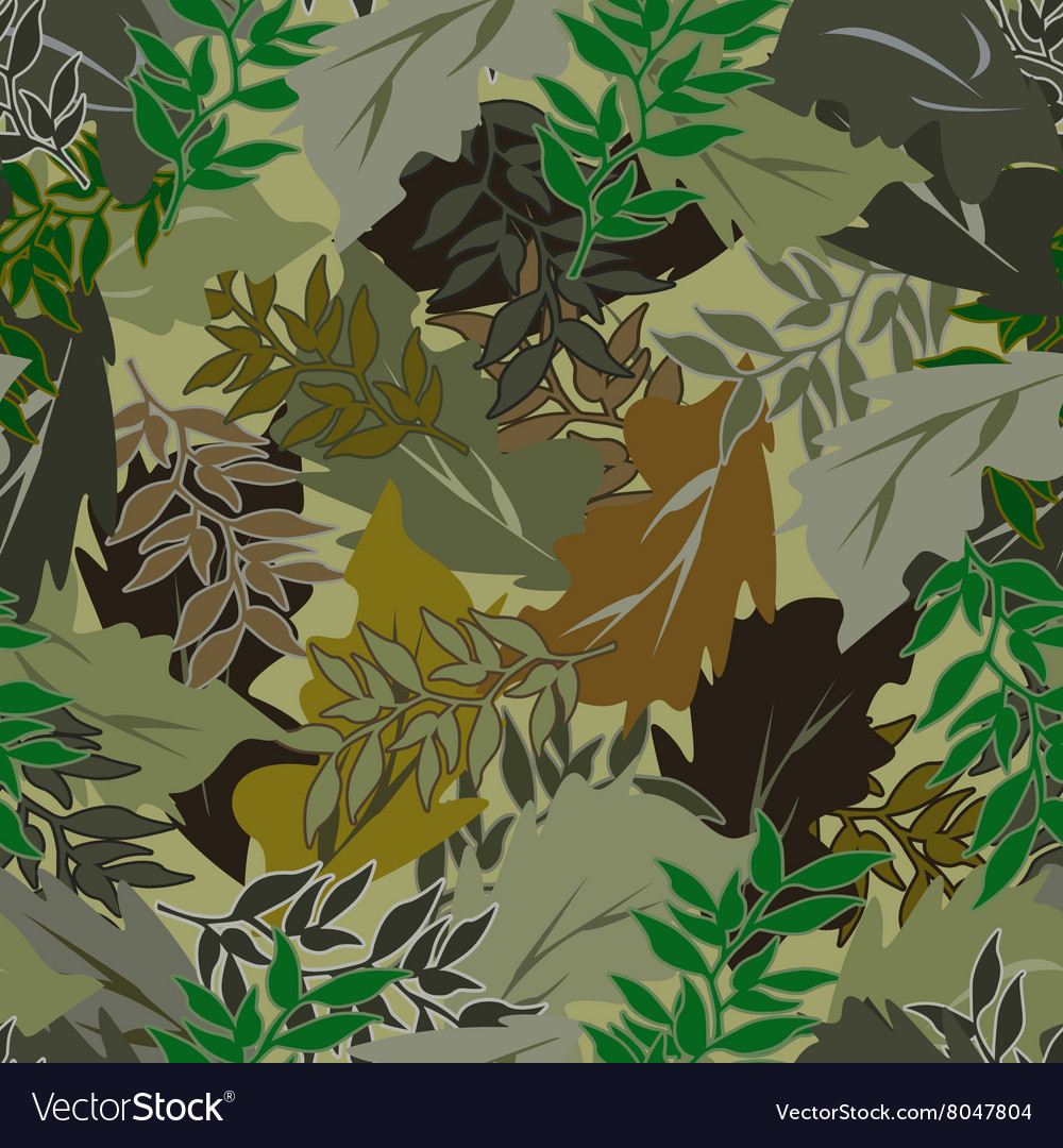 Seamless bright camouflage leaves different vector