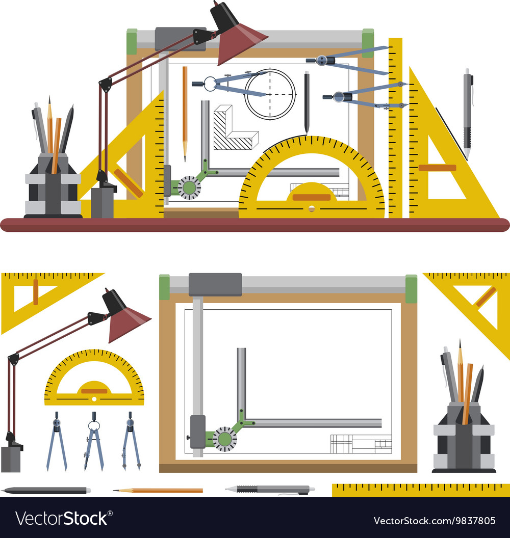 Architects and designer workplace vector