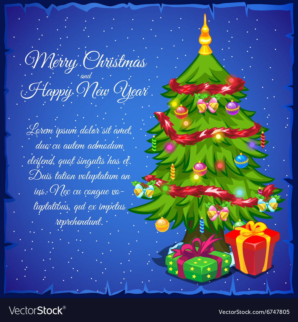 Christmas tree with gifts and sample text vector