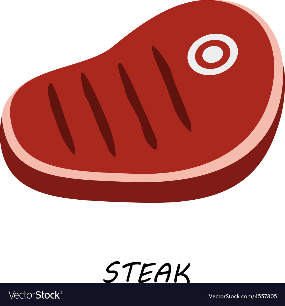 Steak chop meat a piece of meat cuts vector